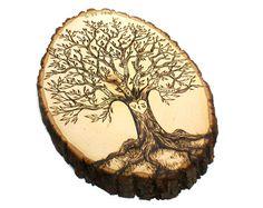 Personalized Family Tree wood burned tree slice by JKartshop