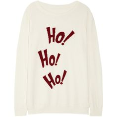 Lot78 Ho! Ho! Ho! knitted sweater (375 BRL) ❤ liked on Polyvore featuring tops, sweaters, shirts, christmas, cream, cream shirt, christmas tops, lot78, relax shirt and shirt top
