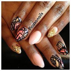 Peach gold #abstracts #nails #nailart