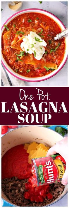 This One Pot Lasagna Soup Recipe is an easy and flavorful comfort food idea for busy days. Minimal prep and clean up make it a family favorite!