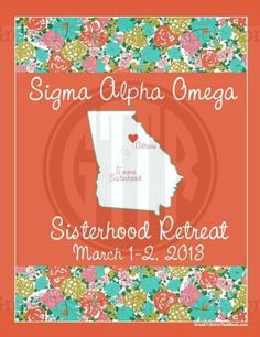 Cute Floral State Spring or Fall Sigma Alpha Omega Sisterhood Shirt. Change the words, state, and colors to your liking.  Recruitment Rush and Bid Day Shirts! Order Yours Today! GTTR 800-644-3066