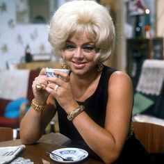 """Diana Dors as Queenie Shepherd in Yorkshire TV's Comedy series """"Queenies Castle"""". The series ran from 1970 to and starred Tony Caunter, Brian. Comedy Series, Comedy Tv, Laugh Track, Diana Dors, Vincent Price, British Comedy, Coronation Street, British Actresses, Iconic Women"""