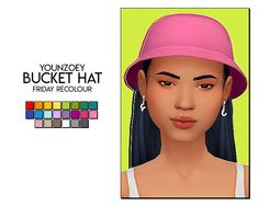 friday recolour - bucket hat by younzoey i included the mesh since this creator is gone, but you can find a reupload of the original here dl (sfs) Sims Four, Sims 4 Mm Cc, My Sims, Sims 4 Mods Clothes, Sims 4 Clothing, Pelo Sims, Sims 4 Children, Sims 4 Characters, Sims 4 Game Mods