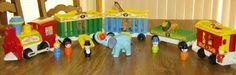 Fisher Price little people circus train. the train really made noise when you pushed down on it.