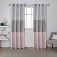 Exclusive Home Curtains Chateau Striped Faux Silk Grommet Top Window Curtain Panel Pair, Blush, Pink Curtains, Home Curtains, Room Darkening Curtains, Grommet Curtains, Window Curtains, Curtain Panels, Turquoise Curtains, Silver Curtains, Rideaux Design