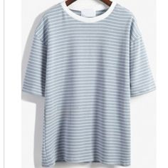 Round Neck striped loose sky blue t shirt Comfortable fit for spring Tops Tees - Short Sleeve