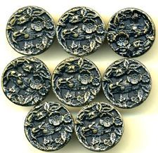 Set of 8 Antique Picture Buttons...Lizard / Salamander on Fence