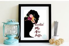 NURSERY ARTRockin' My Afro Puffs Quotes Natural Hair Children Artwork Afro Art  Natural Hair Art Nursery Decor African American Hair Art by PeaceLuvJoyDesigns
