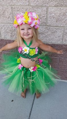 Hula girl Hawaiian tutu costume outfit set, birthday outfit, Halloween costume, fluffy hula tutu skirt and top