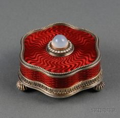 Faberge Scarlet Enameled, Goldwashed Silver, and Stone-set Electric Bell Push