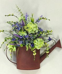 Spring Flower Arrangements, Floral Centerpieces, Floral Arrangements, Silk Flowers, Spring Flowers, Potted Flowers, Everyday Centerpiece, Crooked Tree, Cemetery Flowers