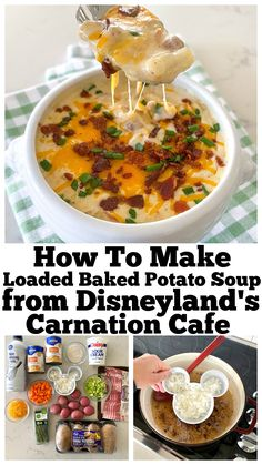 This Loaded Baked Potato Soup recipe is straight from Disneyland's Carnation Cafe! It tastes just like the one we love to enjoy on Main Street, U. Soup Appetizers Soup Appetizers dinners carb Soup Appetizers Appetizers with french onion Potato Bacon Soup, Potato Toppings, Creamed Potatoes, Loaded Baked Potatoes, Eat N Park Potato Soup Recipe, Cheesy Potatoes, Best Loaded Baked Potato Soup Recipe, Crockpot Baked Potato Soup, Soups