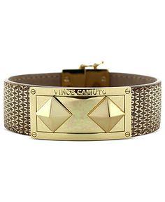 Vince Camuto Bracelet, Gold-Tone Leather Pyramid Stud Magnetic Snap Bracelet - Fashion Bracelets - Jewelry & Watches - Macy's