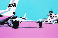 Jersey Airport in the 60's, by Matt Falle.    gouache/acrylic on board