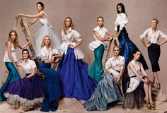 """The World's Next Top Models"" photographed by Steven Meisel for Vogue, May 2007  Lily Donaldson, Hilary Rhoda, Sasha Pivovarova, Doutzen Kroes (on ladder), Caroline Trentini, Raquel Zimmerman, Jessica Stam, Chanel Iman (on ladder), Coco Rocha and Agyness Dean."