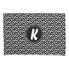 Black and White Swirls with Custom Monogram Pillowcase