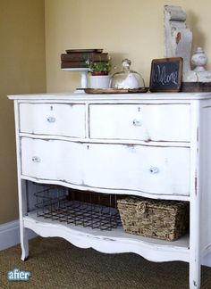 buffet out of an old dresser; leave bottom drawer out and replace with baskets <3