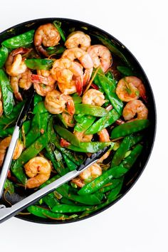 15 Minute Shrimp, Snow Pea, and Ginger Stir Fry Shrimp, Snow Pea, and Ginger Stir Fry. Flavor-packed main course for any night of the week! Shrimp Recipes, Fish Recipes, Asian Recipes, Healthy Recipes, Recipies, Clean Eating, Healthy Eating, Stir Fry Recipes, Cooking Recipes