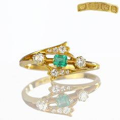 Antique Diamond Emerald Ring 1901 Birmingham 18k Gold, Antique Ring, Edwardian Ring Antique Jewelry Fine Rings Antique Diamond Size 9.5 by HeartofHeartsJewels on Etsy