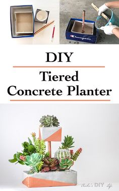 Tiered DIY Concrete planter with copper pipe and paint.