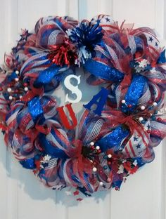 RedWhite and Blue Mesh Wreath4th of July by DesignerWreathsNMore