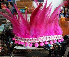 Festival indian feather headdress,  boho, romantic pink feathers headband.