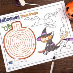 This downloadable Halloween activity sheet includes a dizzying maze to get lost in and a few ghostly looking Halloween characters to color in.