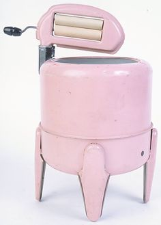 Pink old fashioned washing machine