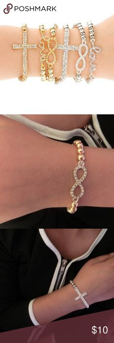 Infinity and Cross Fashion bracelet!  Pack : 1 infinity 1 cross for the price listed‼️ Jewelry Bracelets
