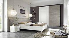 Camera da letto moderna rovere grigio e bianco laccato lucido