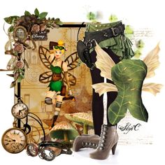 Tinkerbell - Steampunk - Disney's Peter Pan by rubytyra on Polyvore featuring MANGO, disney, tinkerbell and steampunk