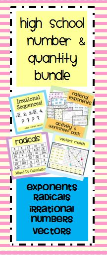 $ High School Number and Quantity Bundle: Radicals, Exponents, Vectors, Irrational Numbers
