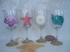 Hand Painted Sea Shell Wine Glasses with Sand - Set of 4 - Gift Wrapping Available. $67.00, via Etsy.