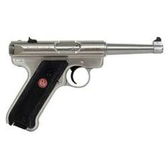 """Ruger Mark III Semi Automatic Rimfire Handgun Distributor Exclusive Model .22 Long Rifle 4.75"""" Barrel 10 Rounds Black Synthetic Grips Stainless Finish"""