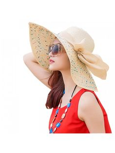 c6e684f1e62 Women s Foldable Wide-brimmed Beach Hat Summer Sun Beach Hat - Beige -  CL180DNK3C3