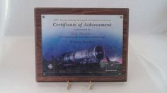 Nice Collectible GE Aircraft Engines Framed Mounted Certificate of Achievement