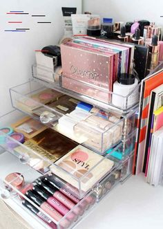 Marie kondo your makeup my decluttering organisation tips from a makeup hoarder - cassandramyee. Good Makeup Storage, Makeup Storage Drawers, Make Up Storage, Acrylic Makeup Storage, Craft Storage, Beauty Storage Ideas, Storage Crates, Cosmetic Storage, Diy Makeup Organizer