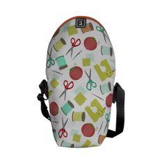 Retro Sewing Theme Mini Messenger Bag