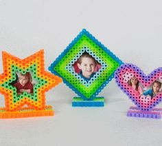Perler beads photo frames