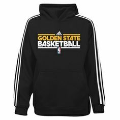 Golden State Warriors adidas Youth On-Court Black Practice Hooded Sweatshirt