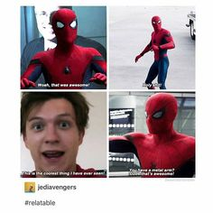 Spidey is the cute fanboy he was destined to be