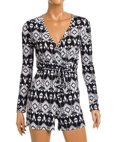 e65bb8ce25a1 Love this Black  amp  White Ikat Surplice Romper by California Trading  Group on  zulily