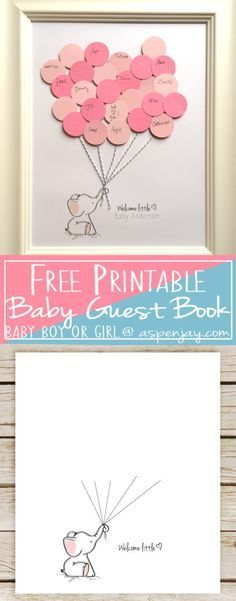 Free Elephant Baby Shower Guest Book Printable. SUPER cute! And you can even customize it! LOVE this!!! Definitely going to use this at the next baby shower I throw! #babyshowergifts