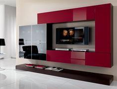 Soggiorno moderno ArredissimA Living Room Partition Design, Living Room Tv Unit Designs, Tv Wall Design, Home Room Design, Home Interior Design, House Design, Cute Living Room, Living Room Decor, Modern Tv Wall Units