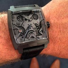 Would really quite like one of these! TAG Heuer Monaco V4 Phantom. Carbon fibre matrix case a belt driven movement wound by a linear winding weight.  #tag #tagheuer #heuer #monaco #v4 #monacov4 #carbonfibre #phantom #hautehorologie #horology #watches #watch #watchesofinstagram #womw #wornandwound #instawatches #watchgeek #dailywatch #watchpics #swissmade #timepiece #time #wristwatch #watchporn #mechanical #automatic #watchuseek #watchoftheday #watchmania #wristwear @tagheuer by thepsh80