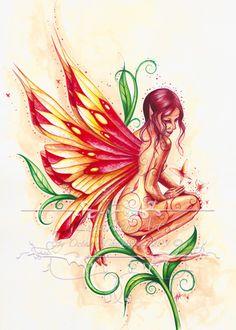 octavia cheetham fire-fairy fairy watercolor original art painting fantasy
