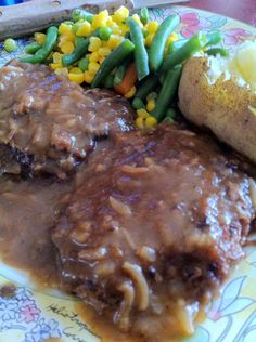Fork Tender Cubed Steak  --  tender oven-baked cubed steak in onion gravy.  Serve with mashed potatoes or rice.