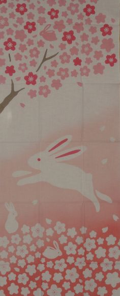 Tenugui Japanese Fabric 'Bunny in the Cherry by kyotocollection, $16.00