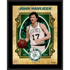 """Each collectible comes with an 8"""" x 10"""" player image sublimated onto a black plaque. It is officially licensed by the National Basketball Association. It measures 10.5"""" x 13"""" x 1"""" and is ready to hang in any home or office. John Havlicek, John The Evangelist, Boston Celtics, Baseball Cards, Basketball Association, Hardwood, Classic, Nba, Image"""