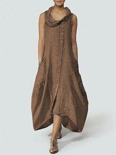 57013e1274 Plus Size Cowl Neck Women Cocoon Daily Basic Sleeveless Dress
